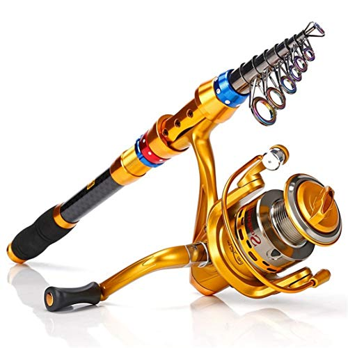 Tanfishes Telescopic Saltwater Freshwater Fishing Rod Portable with 13+1 ior Ball Bearings Smooth Spinning Reel 2.7M AF3000
