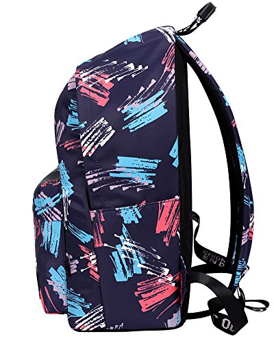 Bag Bags Printed School Dark Backpack Women Book Rucksack Dark Travel Blue Blue School rgHxrn