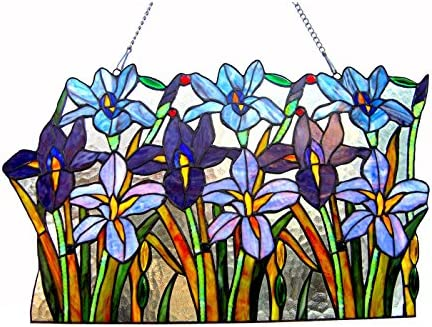 Chloe Lighting 24 Wide Ariana Tiffany-Glass Iris Window Panel, One Size