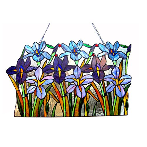 Chloe Lighting Ariana Tiffany-Glass Iris Window Panel 24' Wide