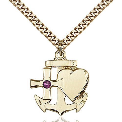 Gold Filled Faith Hope & Charity Pendant with 3mm February Purple Swarovski Crystal 7/8 x 3/4 inches with Heavy Curb Chain by Bonyak Jewelry Saint Medal Collection