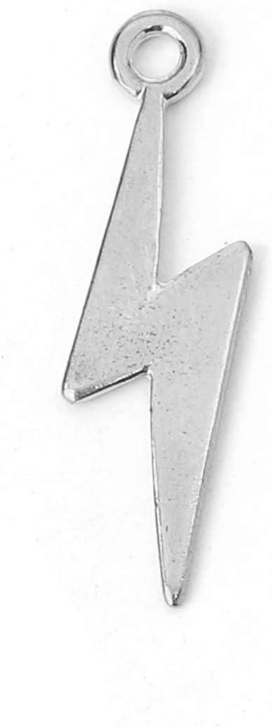 5 pcssilver  lightening bolt charm size 29x9mm