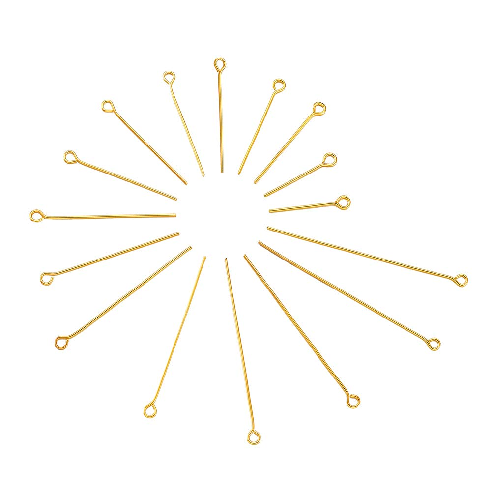 Pandahall 200pcs 21 Gauge 304 Stainless Steel Open Eyepins 1-1/5 Inch (30mm) for DIY Jewelry Making