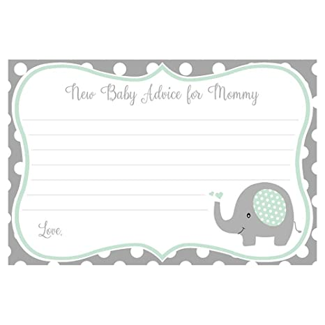 Elefante Baby Shower consejos a mami tarjetas verde menta lunares ...