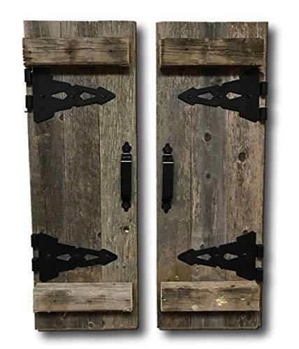 (Barn Wood Rustic Decorative Shutter Set of 2 With)