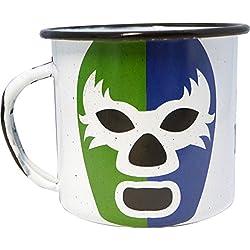 By Mexico Pocillo de Peltre modelo Máscara de Luchador Verde y Azul 360 mililitros