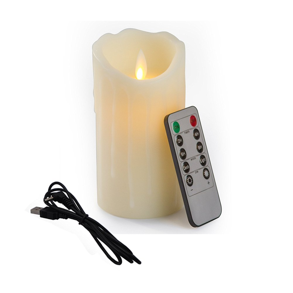 Bello Luna 5.9in LED Wickless Candle Wave Tear Shaped ricaricabile e ambientale Flickering Candle con telecomando ELE_L_Candle_003