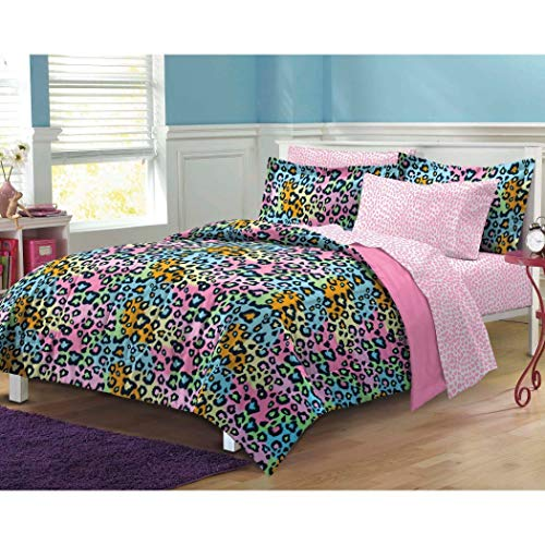 - 7 Piece Girls Teen Rainbow Leopard Themed Comforter Full Set, All Over Cheetah Pattern Bedding, Cute Neon Multi Color Animal Print, Blue Pink Orange Green Yellow Black