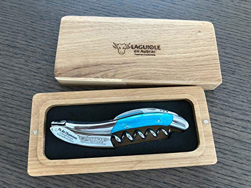 Laguiole en Aubrac Sommelier Waiter's Corkscrew Camel Bone, Light Blue