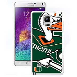 Customized For SamSung Note 4 Case Cover with NCAA Atlantic Coast Conference ACC Footballl Miami (FL) Hurricanes 3 Protective Cell Phone Hardshell For SamSung Note 4 Case Cover N910 N910S N910C White