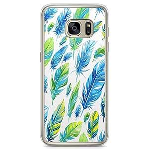 Samsung Galaxy S7 Transparent Edge Phone Case Trendy Phone Case Leafs Phone Case Blue