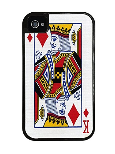King of Diamonds Playing Card Black 2-in-1 Protective Case with Silicone Insert for Apple iPhone 4 / ()