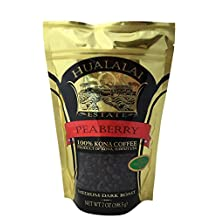 Hualalai Estate PEABERRY- 100% PREMIUM Kona Coffee - Medium-Dark Roast 7oz (WHOLE BEAN)
