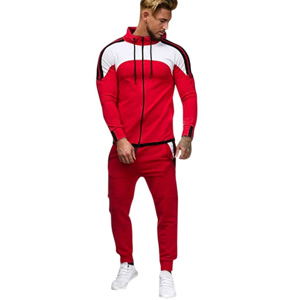 Men's Tracksuit Jogging Set Pocket Sweatshirt Jogger Sweatpants Warm Sports Suit Hoodie Pants Sets Red by Exteren