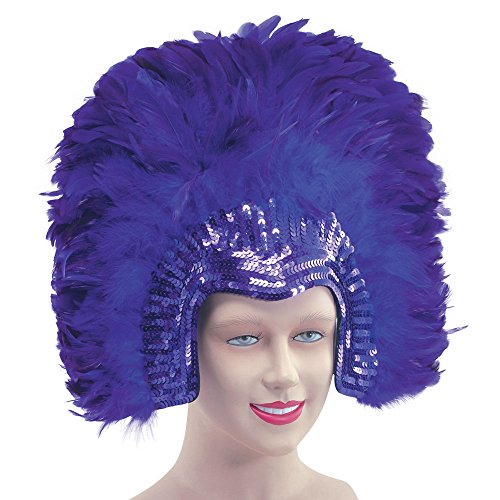 Bristol Novelty BA636 Feather Headdress Purple Deluxe, One -