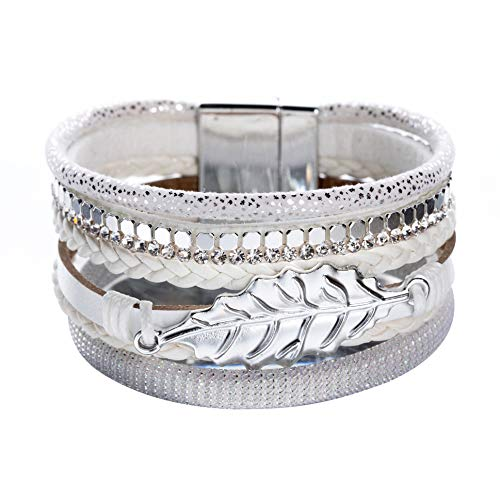(Artilady Shinning wrap Clasp Bangle for Women (Leaf White))