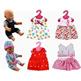 XADP 6 Sets Doll Clothes Outfits Dresses Clothing for 14 to 16 inch Alive Baby Doll,New Born Baby Dolls, Bitty Baby Dolls and 18 inch American Girl Doll