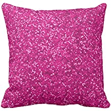 Emvency Throw Pillow Cover Hot Pink Faux Glitter Look Sparkly Sparkles Glam Decorative Pillow Case Girly Home Decor Square 16 x 16 Inch Cushion Pillowcase