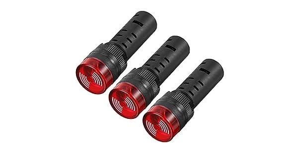 uxcell 5 unidades AC//DC 24 V Pilot Indicador de luz intermitente alarma con zumbador montaje en panel 16 mm LED rojo