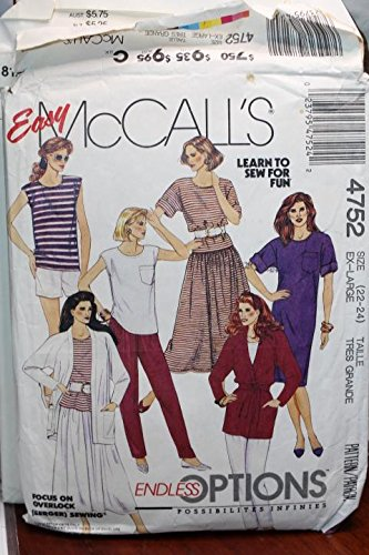 McCall's Pattern 4752 Sz 22-24 Misses' Unlined Jacket And Tie Belt,Dress,Tops,Skirt,Pants Or Short UNCUT FF