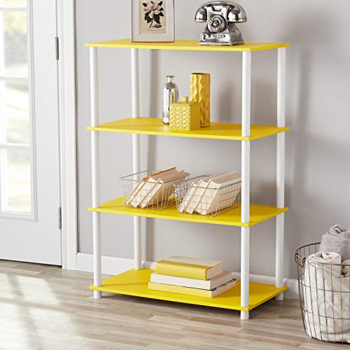 - Mainstay No Tools Assembly 4-Shelving Storage Unit, Multiple Colors, Yellow + Free Storage Organizer Bin