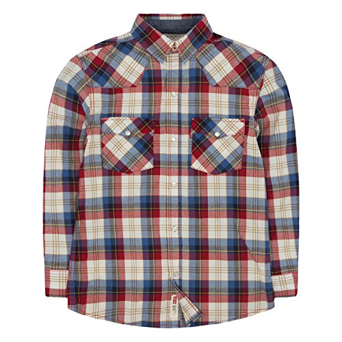 (Levi's Boys' Big Plaid Western Shirt, Chili Pepper, S)