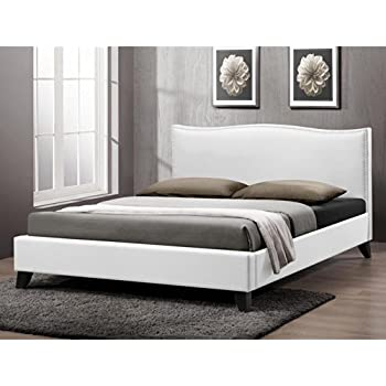 baxton studio battersby modern bed with upholstered headboard queen white - Modern Bed Frames Queen