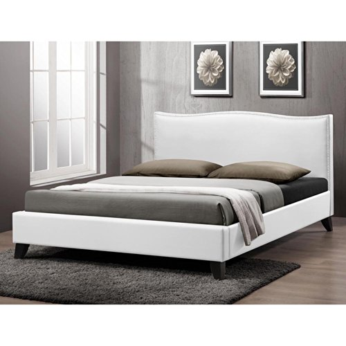 Baxton Studio Battersby Modern Bed with Upholstered Headboard, Queen, - Garden Spring Slat Bed