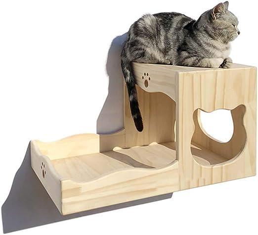 DAYUMAOJIN Árbol de Gato Escalera de Pared multifunción de Madera Maciza Combinación aleatoria Condo Jump Platform Space Capsule, 14 Estilos (Color: Beige, tamaño: 12x30 cm): Amazon.es: Productos para mascotas