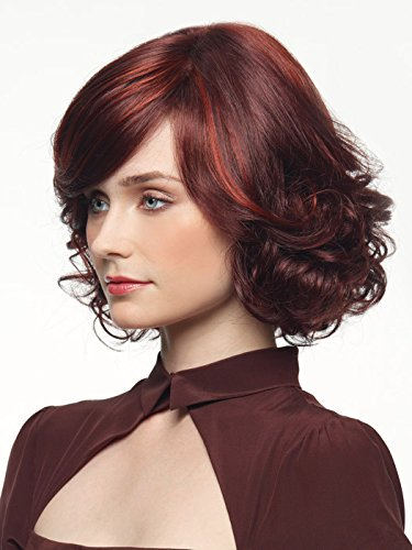 Mermaid Women Short Curly Sexy Hair Wigs Wave Bob Wig with Side Bangs Halloween Chrismas Custom Cosplay Party (Red wine)