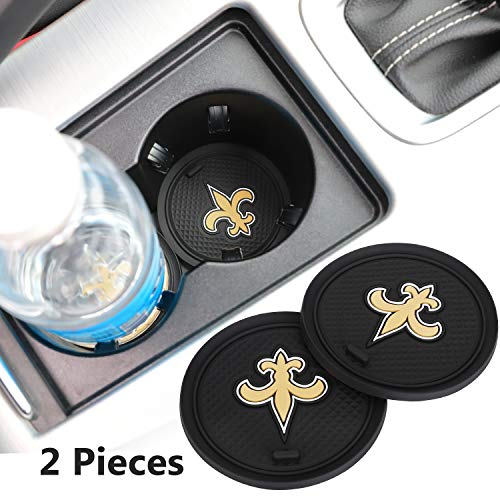 2 Pack 2.75 inch for New Orleans Saints Car Interior Accessories Anti Slip Cup Mat for All Vehicles (New Orleans Saints) (Best New Car Accessories)