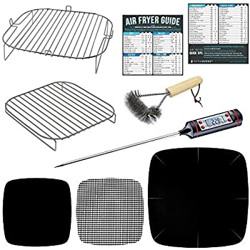 Air Fryer Stacking Rack Accessory Kit Compatible With Ninja Foodi, Cuisinart TOA, Instant Pot Vortex, Soing, Pinsoon, Geek Chef, Master Culinary +More | Cook Times Cheat Sheets, Food Thermometer