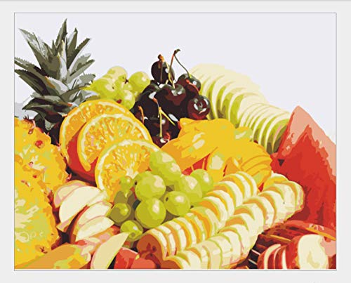 FSKJSZYH DIY Digital Canvas Oil Painting Gift for Adults Kids Paint by Number Kits Home Decoration Crafts 40X50Cm,1620 Inch (No Frame) Fruit Platter]()