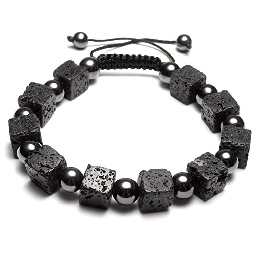 CrystalTears Lava Stone & Hematite Magnetic Therapy Bracelet, Men Women 8 MM Natural Reiki Energy Beads - Protection, Healing, Aromatherapy, Essential Oil Diffuser