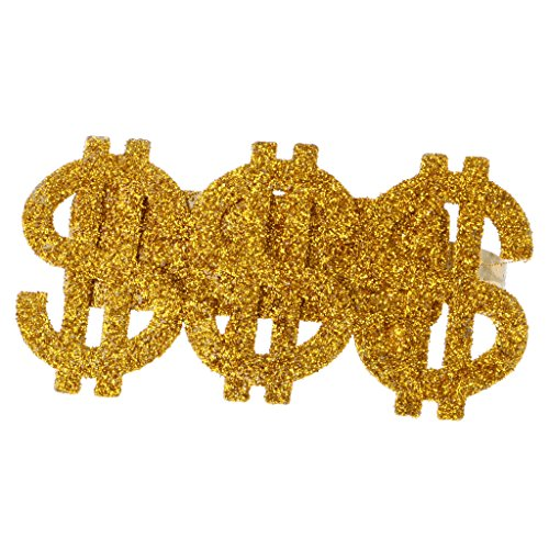 Dovewill Glitter Gold 3 US Dollar Signs Ring Men's Party Costume Hip-hop Rapper Big Daddy Dress Up