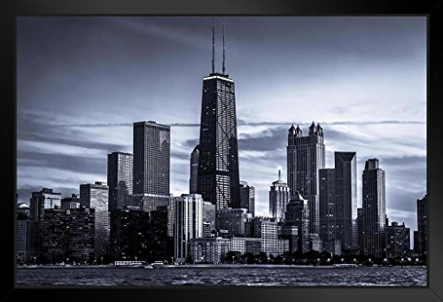 - Chicago City Skyline Photo Art Print Framed Poster 14x20 inch