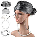 Beelittle Old Lady Costume Grandmother Cosplay Accessories Set - Granny Wig Wig Cap Glasses Pearl Necklace (C)
