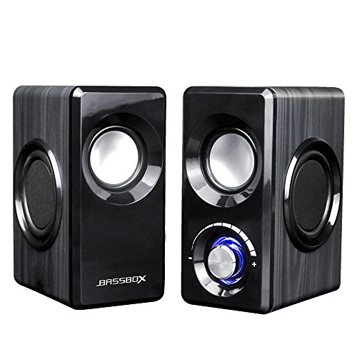 BASSBOX USB 2.0 Channel Computer Speakers with Stereo Sound for Mac,PC,Laptop,Smart Phone and More by BASSBOX