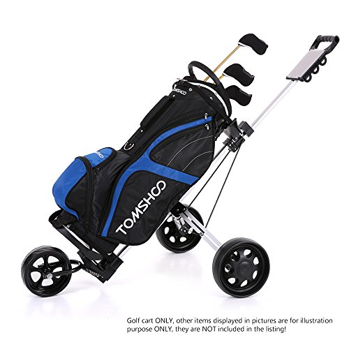 TOMSHOO 3 Wheels Golf Push Cart Foldable Aluminum Pull Cart Trolley with Footbrake System by TOMSHOO (Image #3)