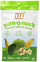 NurturMe Yum-a-Roo's Toddler Snacks, Banana/Apple/Broccoli, 1 Oz. (Pack of 6)
