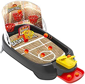 Mini Basketball Shooting Arcade Game-Classic Miniature Desktop Basketball Novelty Game-Portable Kids Basketball Desktop Sport Game with Six Balls and Score Keeper for Kids