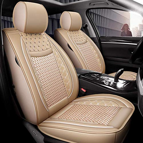 Car seat cover, leather cushions Universal leather, fully closed Seasons Protectors Pad front rear 5 seats complete (color: beige):