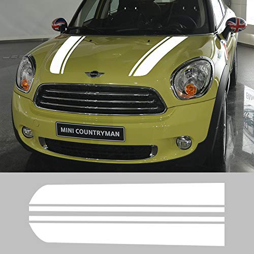 Charminghorse Hood Decal Bonnet Racing Stripes Engine Cover Vinyl Stickers for BMW Mini Cooper Countryman R60 2010-2016 (Gloss White)