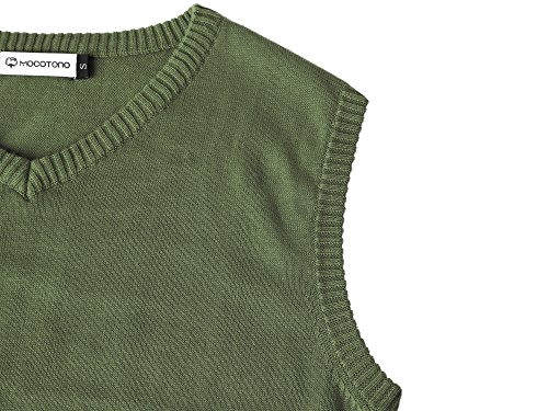 MOCOTONO Men's V-Neck Cotton Sleeveless Sweater Casual Vest Green Medium by MOCOTONO (Image #4)