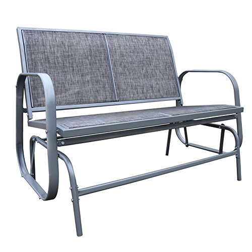 Le Papillon Outdoor Glider Bench 2 Person Loveseat Chair Patio Swing, Grey Review