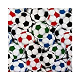 ArtOFabric Soccer Balls Multi Color Cotton Curtain Panel 43x36Inch