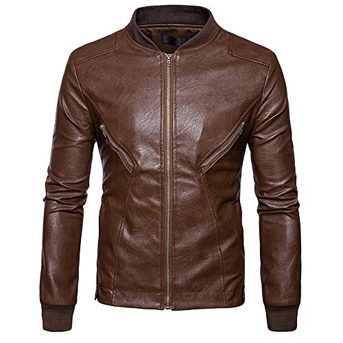 Men's Jacket for Men Autumn Winter Leather Biker Motorcycle Zipper Coat,Top Coat (M,Khaki) by Ennglun Jacket mens Coats