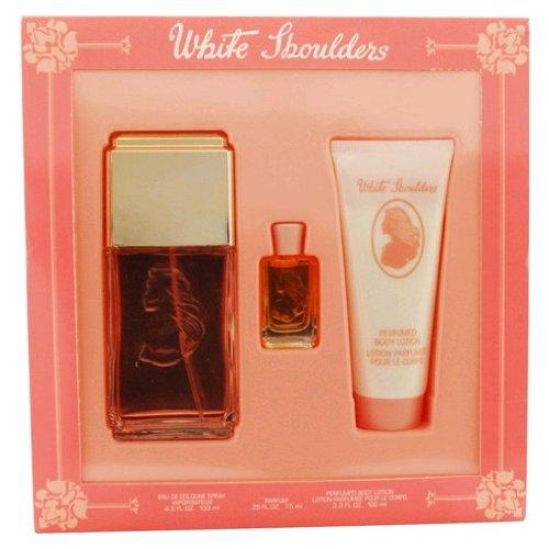 White Shoulders For Women Set, Eau De Cologne Spray 4.5 oz, Body Lotion 3.3 oz & Parfum .25 oz Mini (White Gardenia Perfume Shoulders)