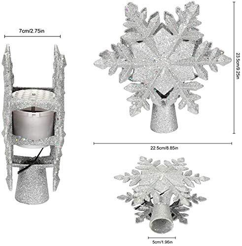 Charlemain Weihnachtsbaumspitze Silber mit Schneeflocken LED Projektor, Glitzer Christbaumspitze mit funkelnden dynamischen Schneeflockenmuster, Netzteilbetriebene Tannenbaumspitze Weihnachtsbaumdeko