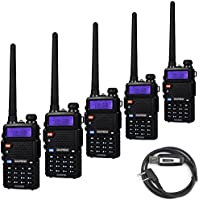 5 Pack Baofeng UV-5RTP Tri-Power 8/4/1W Two-Way Radio Transceiver (UV-5R Upgraded Version with Tri-Power), Dual Band 136-174/400-520MHz True 8W High Power Two-Way Radio + 1 Programming Cable